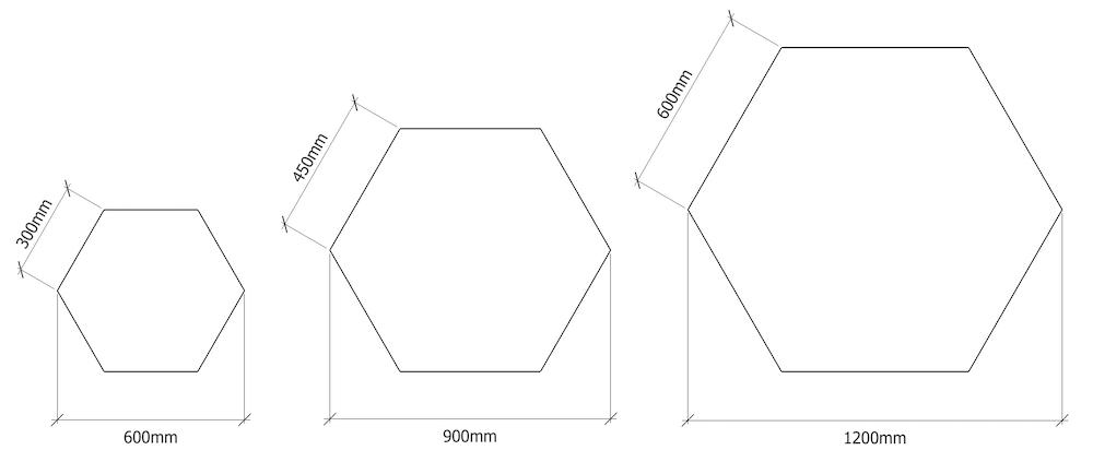 pannello fonoassorbente esagonale - dimensioni
