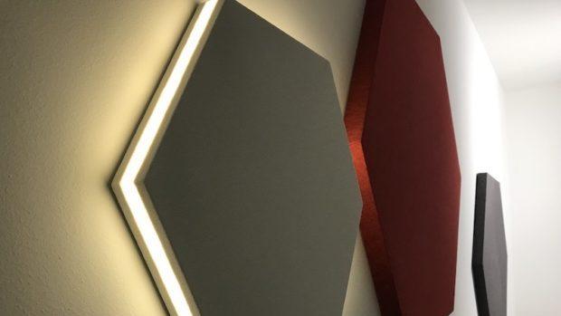 Lampada fonoassorbente esagonale